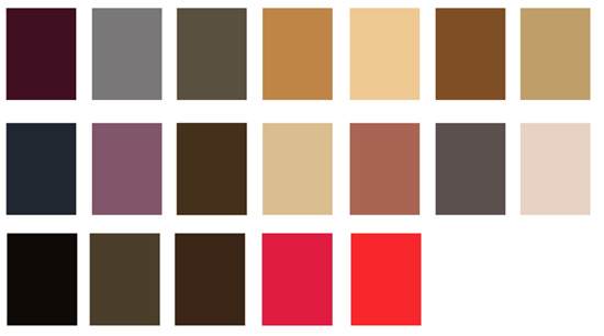 COLOUR PALETTE CHOSEN TO REFLECT THE PERIOD
